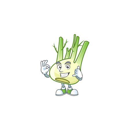 Call me cool fennel cartoon character design. Vector illustration