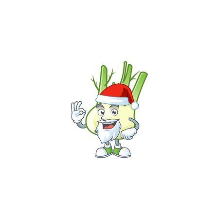 Happy fennel in Santa costume mascot style