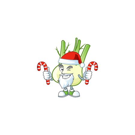 Fennel Cartoon character in Santa Claus with candy