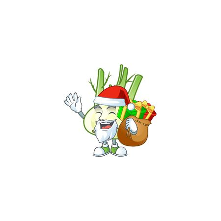 Santa Claus with gift bag fennel Cartoon design Ilustração