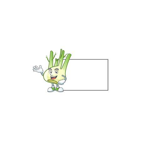 Fennel with whiteboard cartoon character design style Ilustração