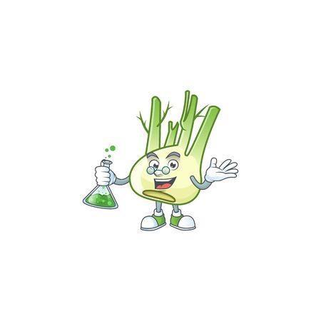 Smart fennel cartoon character holding glass tube Ilustração