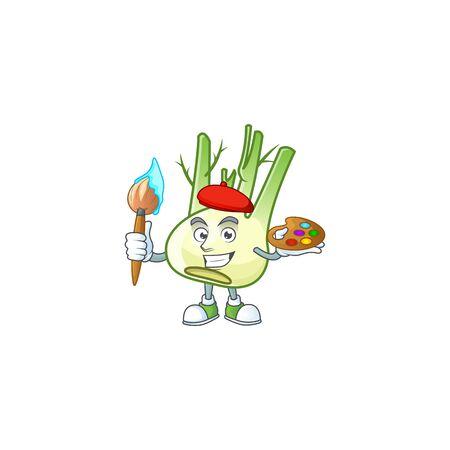 Happy fennel painter cartoon icon with brush Ilustração