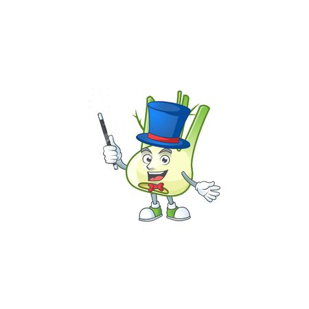 Cartoon character of fennel performance as a Magician. Vector illustration