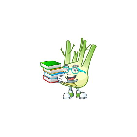 Student with book fennel on mascot cartoon character style. Vector illustration