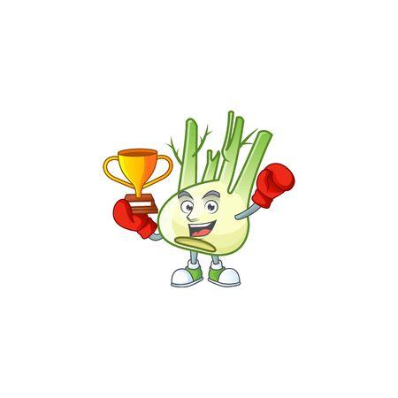 Super cool Boxing winner fennel in mascot cartoon style
