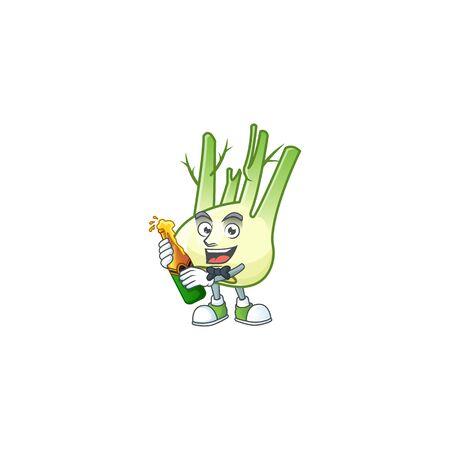 Happy fennel with beer cartoon character design Ilustração