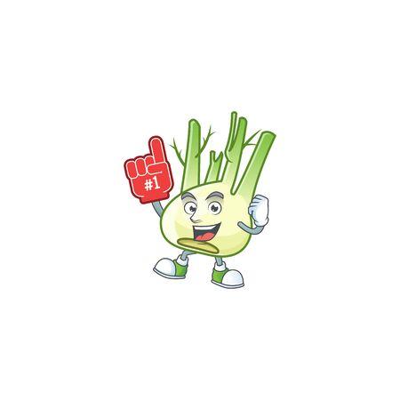 Funny fennel mascot cartoon style with Foam finger