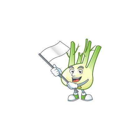 cute fennel cartoon character design holding a flag