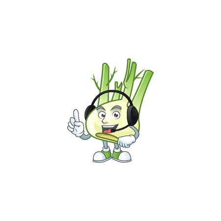 Fennel cute cartoon character design with headphone 向量圖像