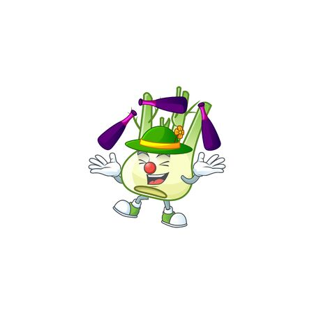 Cute and cool Juggling fennel cartoon character
