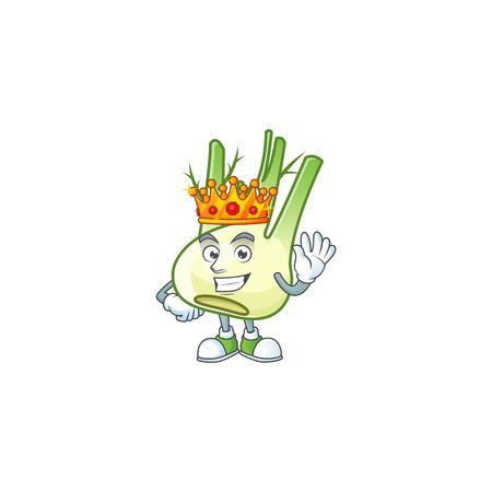 Cool King of fennel on cartoon character style