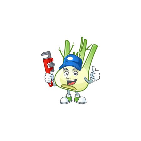 Cool Plumber fennel cartoon character mascot design. Vector illustration