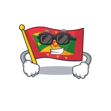 Super cool flag grenada Scroll character with black glasses. Vector illustration