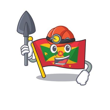 Cool confident Miner flag grenada Scroll cartoon character design. Vector illustration