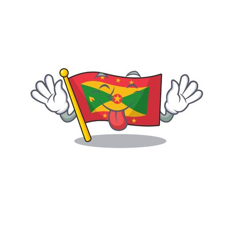 Funny face flag grenada Scroll mascot design with Tongue out. Vector illustration