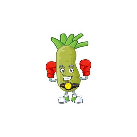 Funny Face Boxing wasabi cartoon character design. Vector illustration
