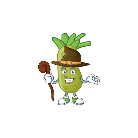 Happy Face Witch wasabi cartoon character style. Vector illustration  イラスト・ベクター素材