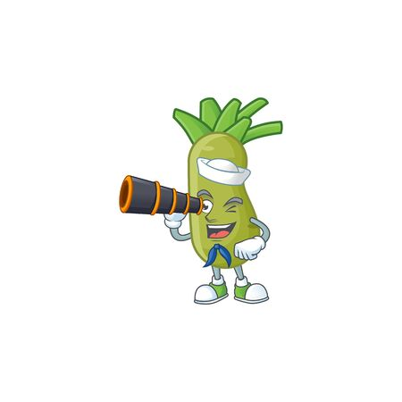 Picture of Smiling happy Sailor wasabi with binocular. Vector illustration
