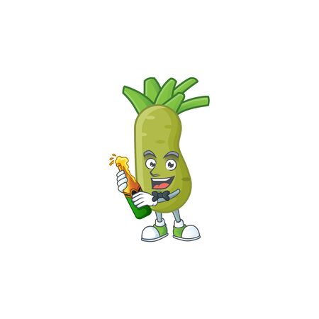 Happy wasabi with beer cartoon character design. Vector illustration
