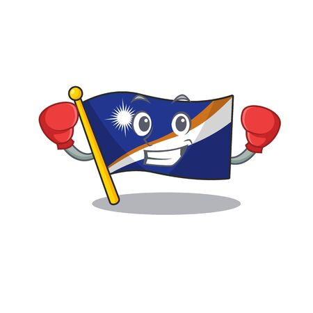 Happy Boxing flag marshall island Scroll mascot character style. Vector illustration