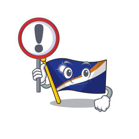 Cartoon design of flag marshall island Scroll raised up a sign. Vector illustration Illustration