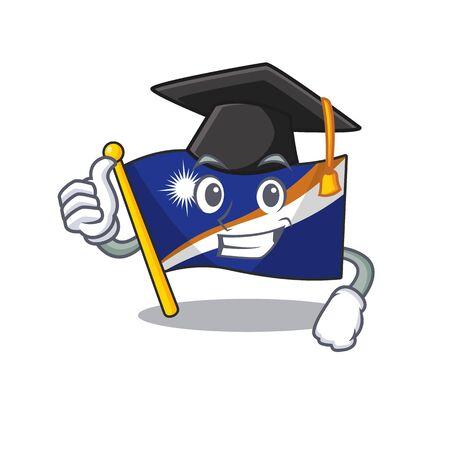 happy flag marshall island Scroll wearing a black Graduation hat. Vector illustration