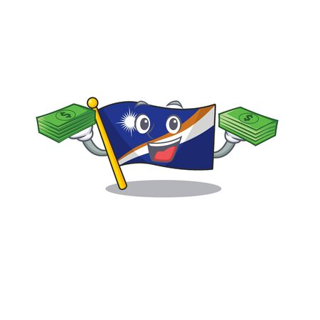 Very happy flag marshall island Scroll character with money on hands. Vector illustration