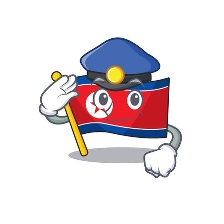 Flag north korea Scroll Cartoon mascot style as a Police officer Vector illustration