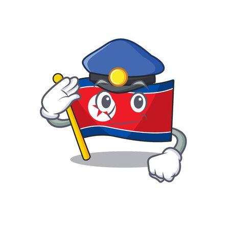 Flag north korea Scroll Cartoon mascot style as a Police officer Vector illustration