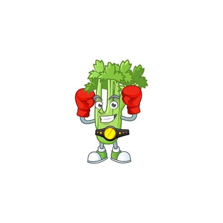 Funny Face Boxing celery plant cartoon character design