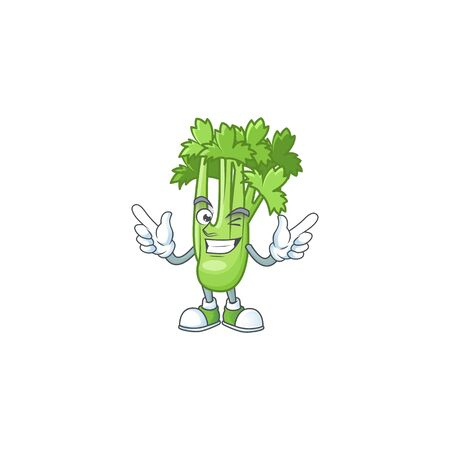 Funny celery plant cartoon character style with Wink eye 向量圖像