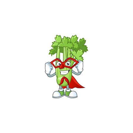 A cartoon of celery plant with Super hero costume 向量圖像