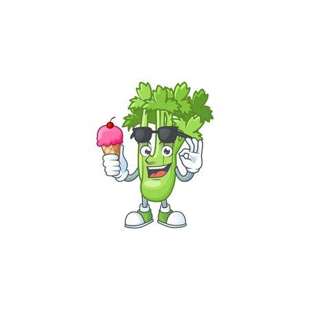 Cute celery plant cartoon character with ice cream