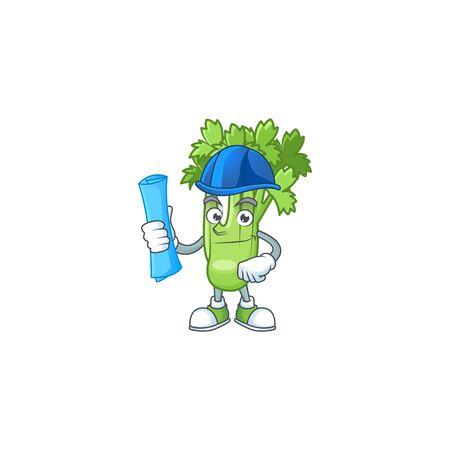 Cheerful Architect celery plant cartoon character having blue prints