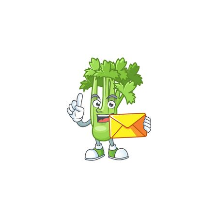 Cheerful celery plant mascot cartoon with envelope