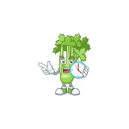 Happy celery plant cartoon mascot style with clock