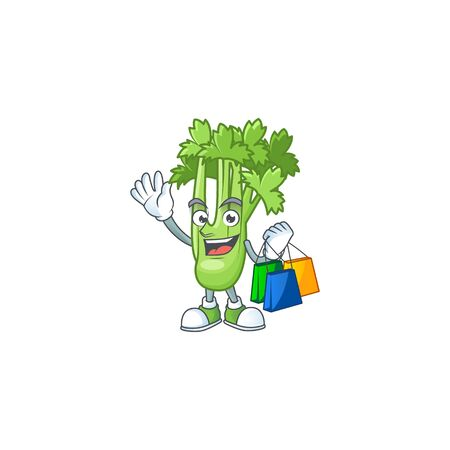 Cheerful celery plant mascot waving and holding Shopping bags