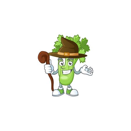 Happy Face Witch celery plant cartoon character style 向量圖像