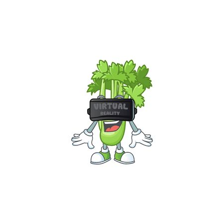 cool celery plant character with Virtual reality headset 向量圖像