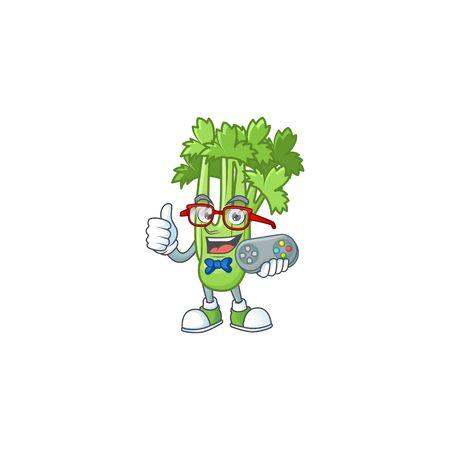 cool geek gamer celery plant cartoon character design. Vector illustration