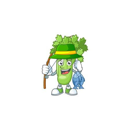 Cheerful face Fishing celery plant mascot design