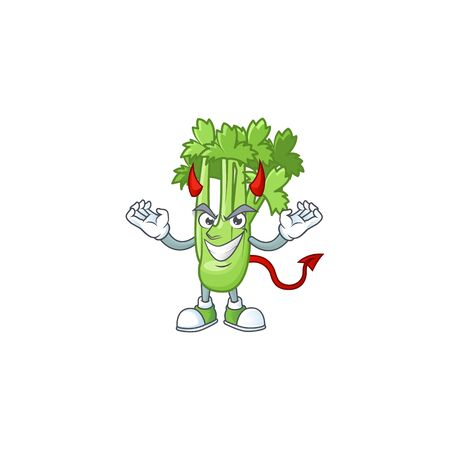 Picture of celery plant as a Devil cartoon mascot 向量圖像
