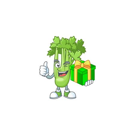 cartoon character of happy celery plant with gift box