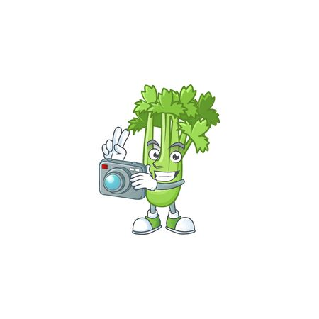 Smart Photographer celery plant cartoon mascot with a camera 向量圖像