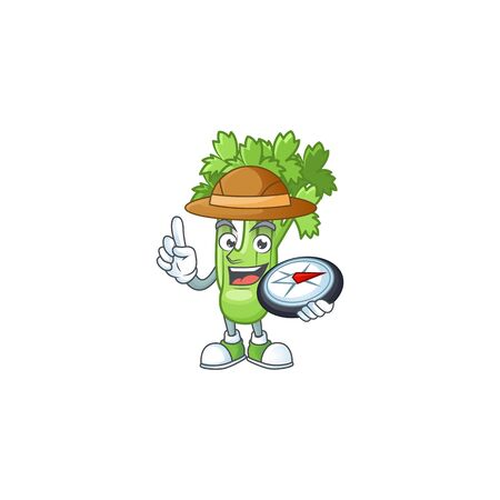 Cool Explorer celery plant cartoon character with a compass