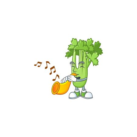 Cheerful celery plant cartoon character performance with trumpet