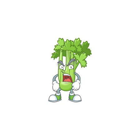 angry face of celery plant cartoon character style. Vector illustration Stock Illustratie