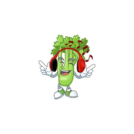 Singing and Listening music celery plant cartoon character