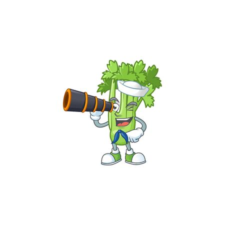 Picture of Smiling happy Sailor celery plant with binocular